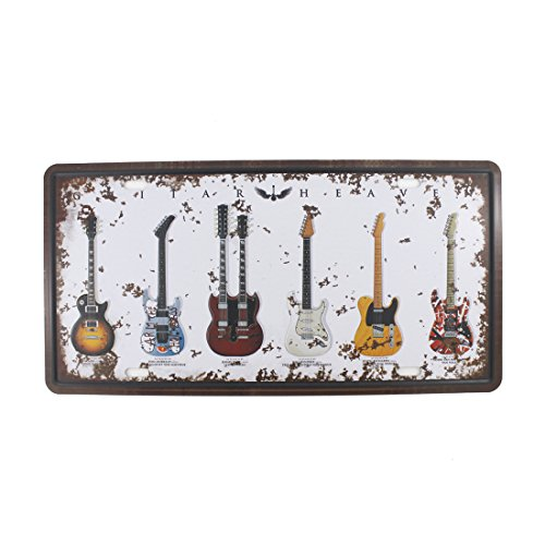 6x12 Inches Vintage Feel Rustic Home,bathroom and Bar Wall Decor Car Vehicle License Plate Souvenir Metal Tin Sign Plaque (Guitar Heaven)]()