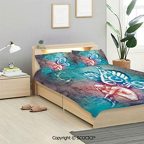 SCOCICI Butterflies Decorations Bedding Sets 3 Pieces(1 Duvet Cover 2 Pillow Shams) Fairy with Wings Renewal Female Rebirth Psyche Lightness of Being Duvet Cover Sets for Kids/Twin/Single All Seasons