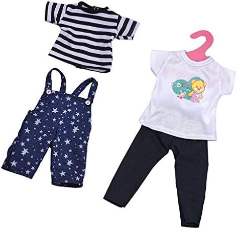 KOZEEY 2セット 18インチ アメリカンガールドール シャツ  サロペットズボン ズボン 人形服