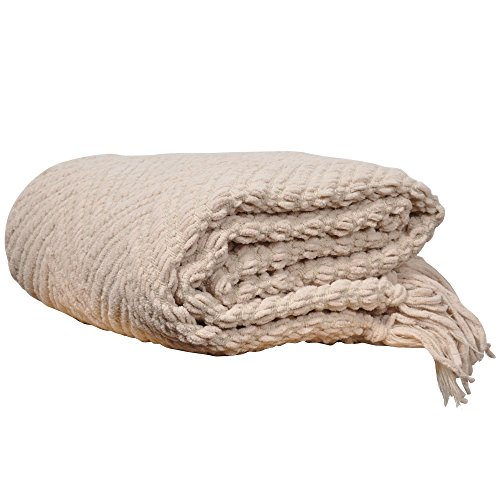 "Battilo Knit Zig-Zag Textured Woven Throw Blanket, 60"" L X 50"" W, Beige"