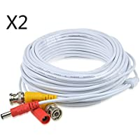 JerGO Professional Grade Siamese Combo Coaxial Cable Pre-made All-in-One BNC Video Power Cable for 1080P /720P, TVI, CVI, AHD and HD-SDI Camera and Analog CCTV Camera ( White 50Ft )(2 Pack)