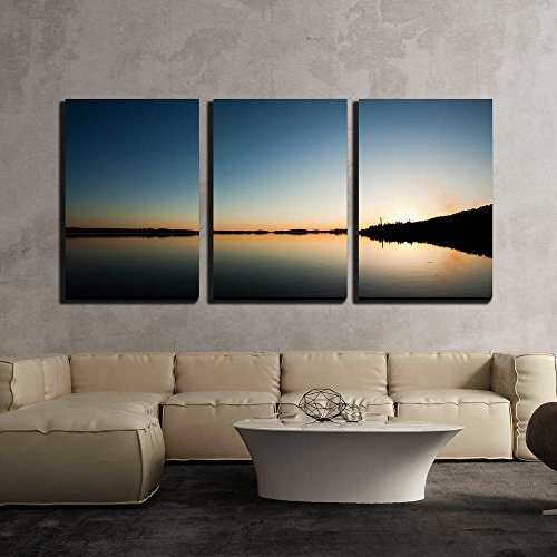 Sundown and Calm Lakescape x3 Panels