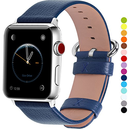Blue Leather Band - Fullmosa Compatible Apple Watch Band 38mm 40mm 42mm 44mm Calf Leather Compatible iWatch Band/Strap Compatible Apple Watch Series 4 Series 3 Series 2 Series 1,38mm 40mm Dark Blue