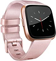 for Fitbit Versa Band, Vancle Classic Accessory Bands Replacement Wristband Straps for Fitbit Versa Smart Watch Small Large Size (Black, Large)