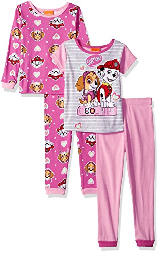 Price comparison product image Nickelodeon Little Girls' Paw Patrol 4-Piece Cotton Pajama Set, Cutie-Pup Pink, 6