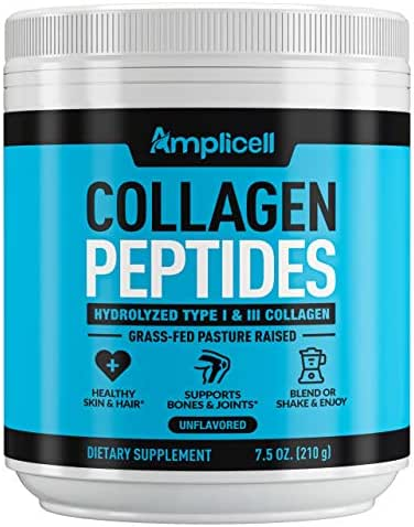 Collagen Powder – Grass Fed Collagen Peptides with Aminos - Promotes Healthy Skin & Nails - Bone & Joint Support - Collagen Hydrolysate - Hydroylzed Collagen Powder, Unflavoured, Non GMO, Easy Mix