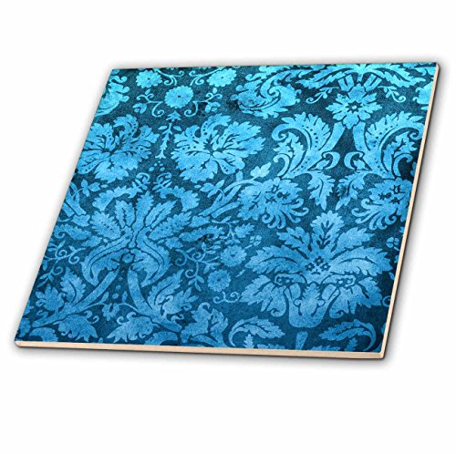 3dRose ct_32493_1 Decorative Vintage Floral Wallpaper Blue Ceramic Tile, 4-Inch