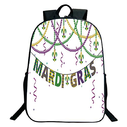 Print Black School Bag,backpacksMardi Gras,Festive Decorations with Fleur De Lis Icons Hanging from Colorful Beads Decorative,Purple Green Yellow,for Kids,Pictures Print Design.15.7