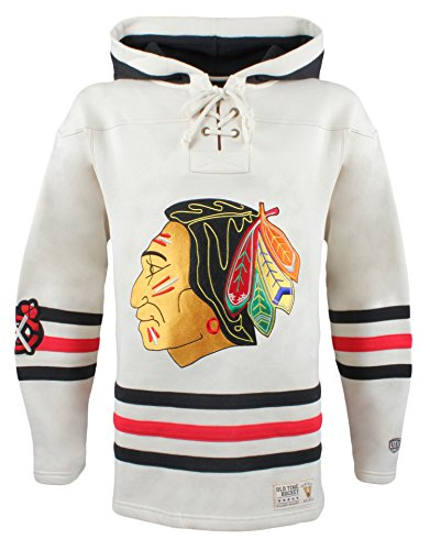 NHL Chicago Blackhawks Men's Vintage Lacer Heavyweight Hoodie, Small, Stone