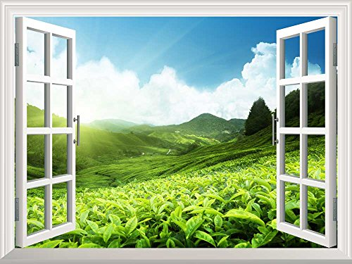 Removable Wall Sticker Wall Mural Tea Plantation in Mountain Spring Creative Window View Wall Decor
