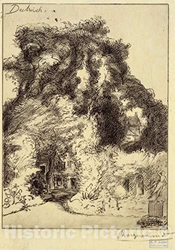 Historic Pictoric 1852 Print | Le jardin de l'auberge de Dulwich. | Vintage Wall Art | 11in x 14in