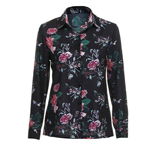 Mujer Floral Patrón Blusas de manga larga Camisas Multicolor