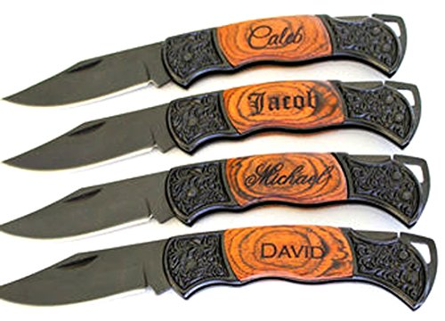 Gifts Infinity® Personalized Laser Engraved Pocket Knife Rosewood Handle Groomsmen, Father's day Gift free