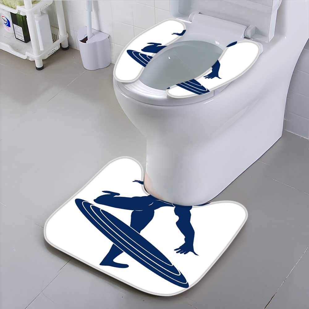 HuaWu-home Toilet SeatCaptain America Blue Silhouette of a Man Suit for The Toilet