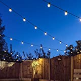Extendable Festoon Lights - 20 LEDs - Clear Bulb - Warm White - 8m Black Cable by Festive