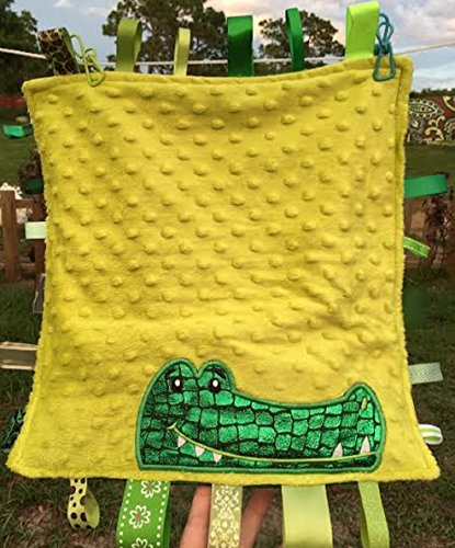 - Happy CROCODILE Security Blanket ~ Cuddle Trim with Ribbon Tabs