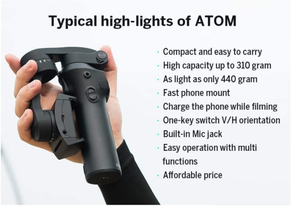 3-Axls Foldable Pocket-Sized Handheld Gimbal Stabilizer,Folding Stabilizer for iPhone for Gopro 12H Run-Time APP Controls for Time-Lapse Tracking