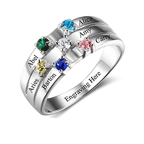 Lam Hub Fong Personalized Mothers Rings with 6 Simulated Birthstones Rings for Mom Mother Grandmother Gifts for Mother's Day (7) (Mother Child Ring)