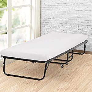 Guest Folding Bed Camping Cot Size Roll Away Foldaway and 3 Inch Comfort Foam Mattress with Super Strong Heavy Duty Frame