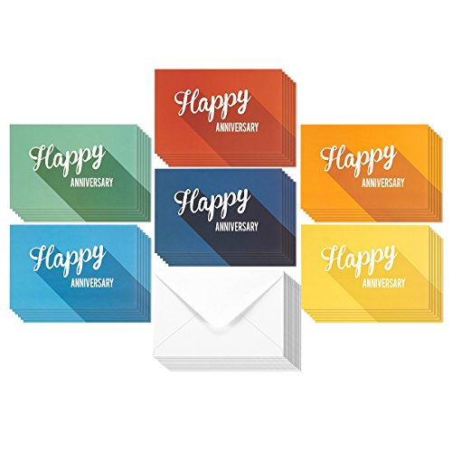 36 Pack Anniversary Card Set - Happy Anniversary Cards - Assorted Blank Greeting Cards - Colorful Greeting Cards Bulk Set - Retro Inspired Designs, Envelopes Included, 4 x 6 - Box Card Anniversary 50th