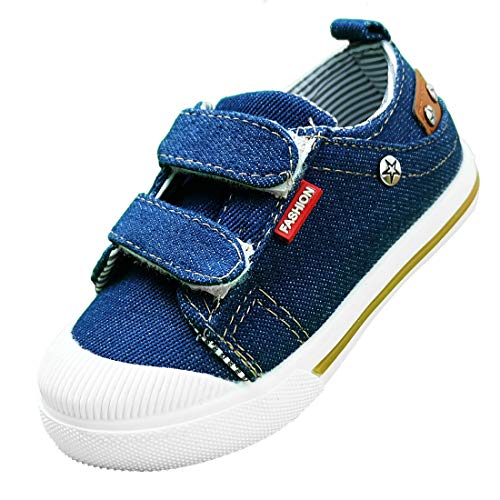 Canvas Shoes for Boys Toddler Sneakers Kids Velcro Toe Girl Slip On Tennis Athletic Running Baby Safety Sneaker House Denium Footwear Infant Hook&Loop Size Hiking H&L Dual Casual Low-Top NZBX01-DB-28