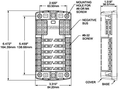 Amazon.com: Blue Sea Systems 12 Circuit Blade Fuse Block With Negative Bus  100 Amp Max Per Block 30 Per Circuit: Automotive