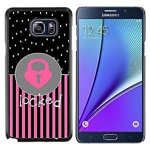 Stuss Case / Funda Carcasa protectora - Corazón del lunar Rosa Negro Texto - Samsung Galaxy Note 5 5th N9200