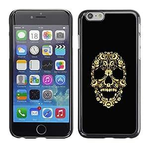 KOKO CASE / Apple Iphone 6 / cráneo bling del esqueleto floral flores amarillas / Delgado Negro Plástico caso cubierta Shell Armor Funda Case Cover