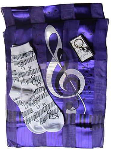 Ladies Music Gift Set: Scarf, Socks & Key Ring (Purple Clef)
