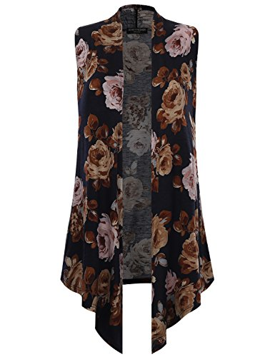 All for You Women's Sleeveless Floral Printed Drape Cardigan Navy 61068 Large - Floral Ribbed Cardigan