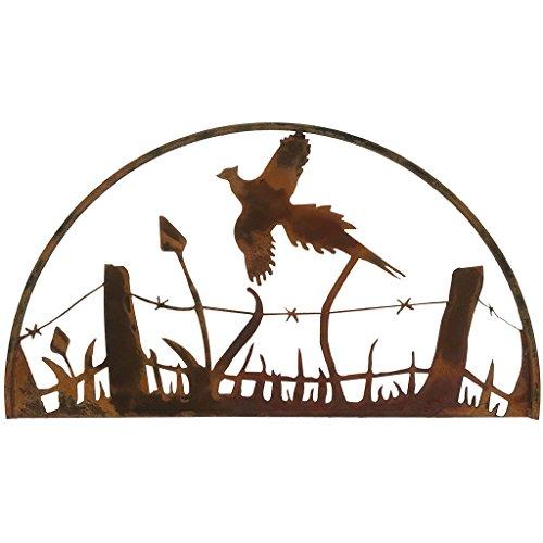 Pheasant Decor - Pheasant Hoop Metal Wall Art, Natural Rust Patina