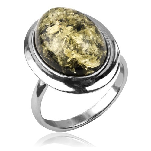 Green Amber and Sterling Silver Simple Oval Ring, Sizes 5,6,7,8,9,10,11,12