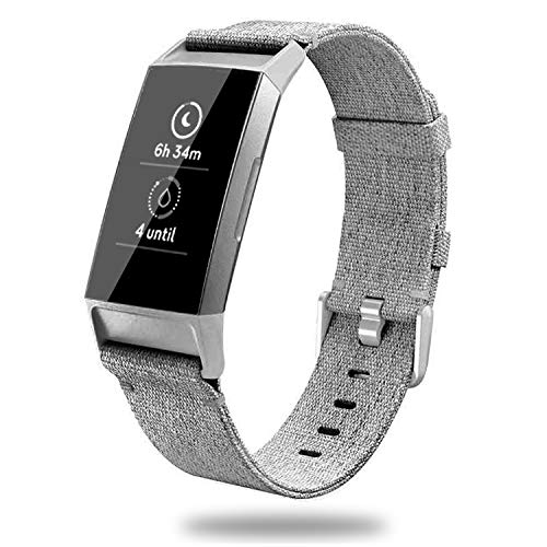 Fabric Nylon Colour - X4-Tech Compatible with Fitbit Charge 3 Bands Woven, Choose Color Nylon Fabric Bands with Plastic Connector for Charge 3 Watch & Charge 3 SE (Gray)