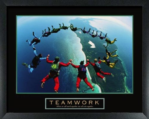 Teamwork Skydiving Variant Framed Motivational Poster