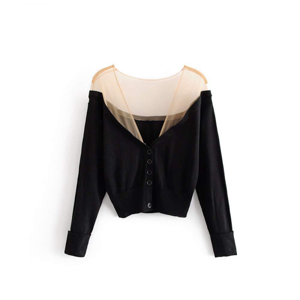 FUHENGMY Pullover Sexy V Neck Transparent Oberbekleidung Einreiher Mesh Patchwork Strickwaren Herbst Frauen Langarm Mantel