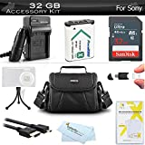 32GB Accessories Kit For Sony Cyber-shot DSC-RX100M IV, DSC-RX100 IV, HX400V/B, DSC-HX300 Camera Includes 32GB High Speed SD Memory Card + Replacement NP-BX1 Battery + Charger + Case + More