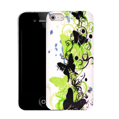 Mobile Case Mate IPhone 5S clip on Silicone Coque couverture case cover Pare-chocs + STYLET - green creeping butterfly pattern (SILICON)