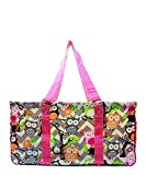 N. Gil All Purpose Open Top 23'' Classic Extra Large Utility Tote Bag 2 (Chevron Owl Grey Hot Pink)