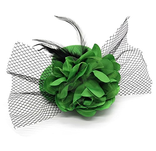 Coolr Women's Fascinator Flower Hair Clip Feather Burlesque Punk Mini Hat -