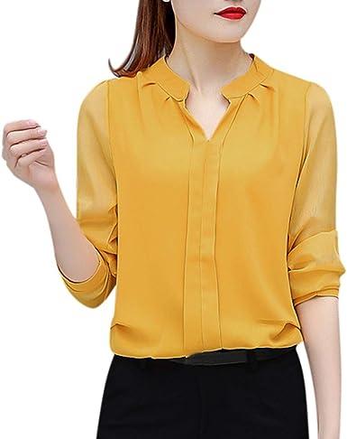 Blusa casual para mujer, de gasa, con cuello en V, para mujer Marrón amarillo S: Amazon.es: Ropa y accesorios