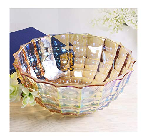 Crystal Fruit Basket - Fruit basket- Fruit Basket Dried Fruit Plate European Crystal Glass Fruit Bowl Creative Snack Bowl -fruit bowl WYQSZ (color : Gold)