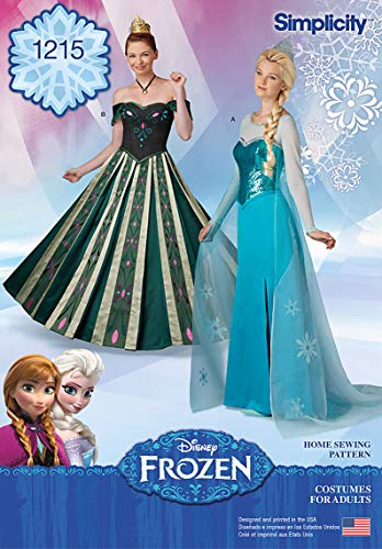 Simplicity 1215 Disney's Frozen Anna and Elsa Women's Halloween Costume Sewing Pattern, Sizes HH (6-12)