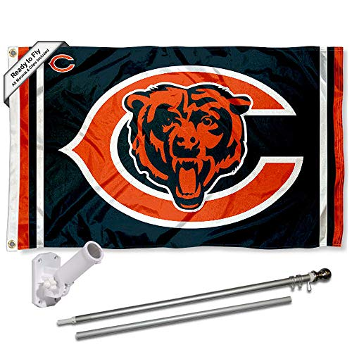 - Wincraft Chicago Bears Dual Logo Flag Pole and Bracket Kit
