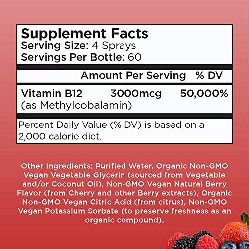 (Extra Strength-60 Day) Organic Vitamin B12 (Methyl) Liquid Spray by MaryRuth's Energy Boost - Sugar Free - Non GMO Vegan - Gluten Free - Paleo - Bariatric, Celiac Glass Bottle 1oz-3000 mcg 6