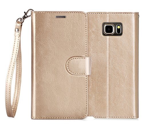 Note 5 Case, FYY [Top-Notch Series] Premium PU Leather Wallet Case Stand Cover for Samsung Galaxy Note 5 Gold