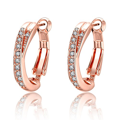 Acxico Rose Gold Diamond Inside and Outside Shared-Prong Hoops diamond Round Stud Earring (Prong Shared Gold)