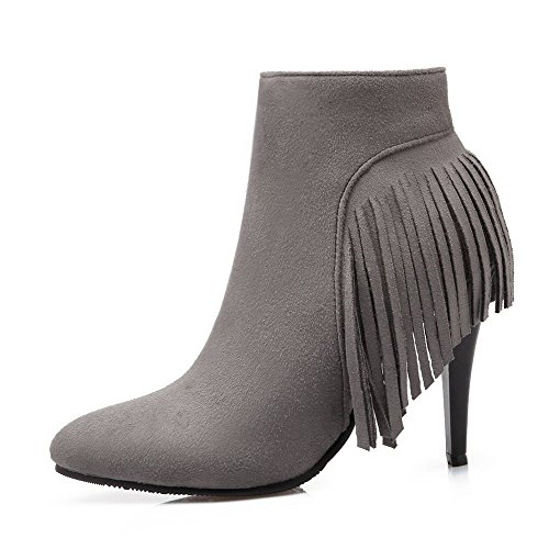 Heels Toe Frosted Ankle Boots Gray Allhqfashion Women's Zipper High Pointed Closed high Bn0qOX
