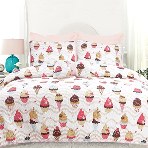 DriftAway 3 Piece Sweet Dream Reversible Quilt Set Ice Cream and Cupcake Pattern Multi Colors (Soft Pink/Hot Pink/Aqua/ Chocolate/Cream), 100% Cotton, Pre-Washed, Twin