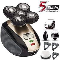 Máquina de afeitar recargable con recortadora de barba para cabello impermeable IPX7 con 4D con 4D flotante Recortadora de oreja de nariz de afeitar 5 y cepillo de limpieza facial