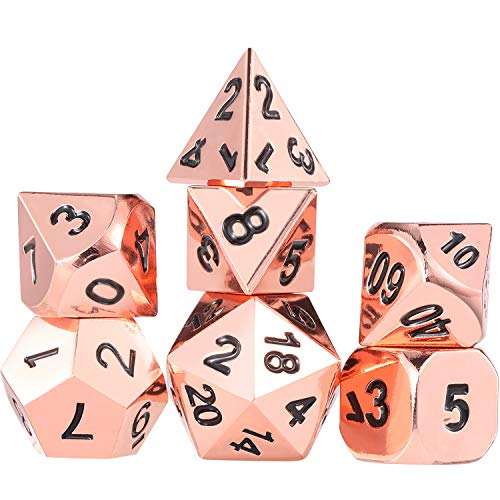 Frienda Zinc Alloy Metal Polyhedral 7-Die Dice Set for Dungeons and Dragons RPG Dice Gaming D&D Math Teaching, d20, d12, 2 Pieces d10 (00-90 and 0-9), d8, d6 and d4 (Rose Gold) ()